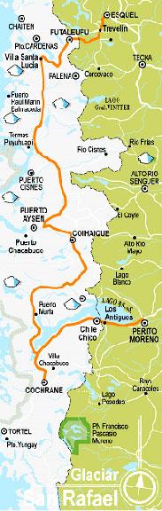 Mapa región glaciar San Refael