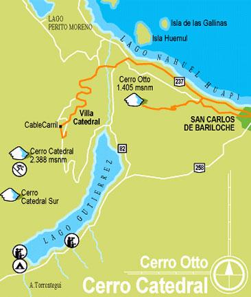 Mapa Catedral, Bariloche
