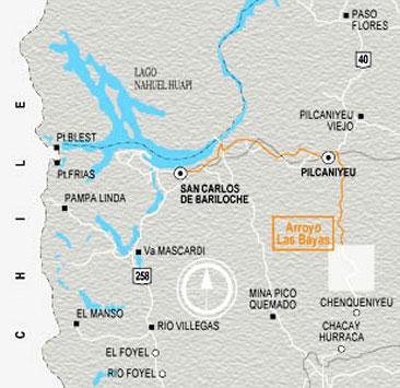 Mapa arroyo chacay, bariloche